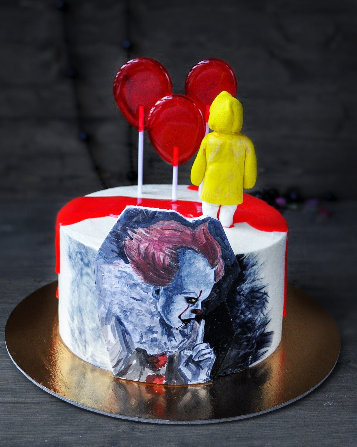 Awesome Pennywise Cake Idea It With Images Scary Cakes Funny Birthday Cards Online Inifofree Goldxyz