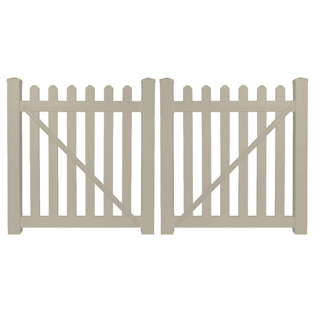 Weatherables Chelsea 10 Ft W X 5 Ft H Khaki Vinyl Picket Fence Double Gate Kit Includes Gate Hardware Green In 2020 Vinyl Picket Fence Wooden Garden Gate Double Gate