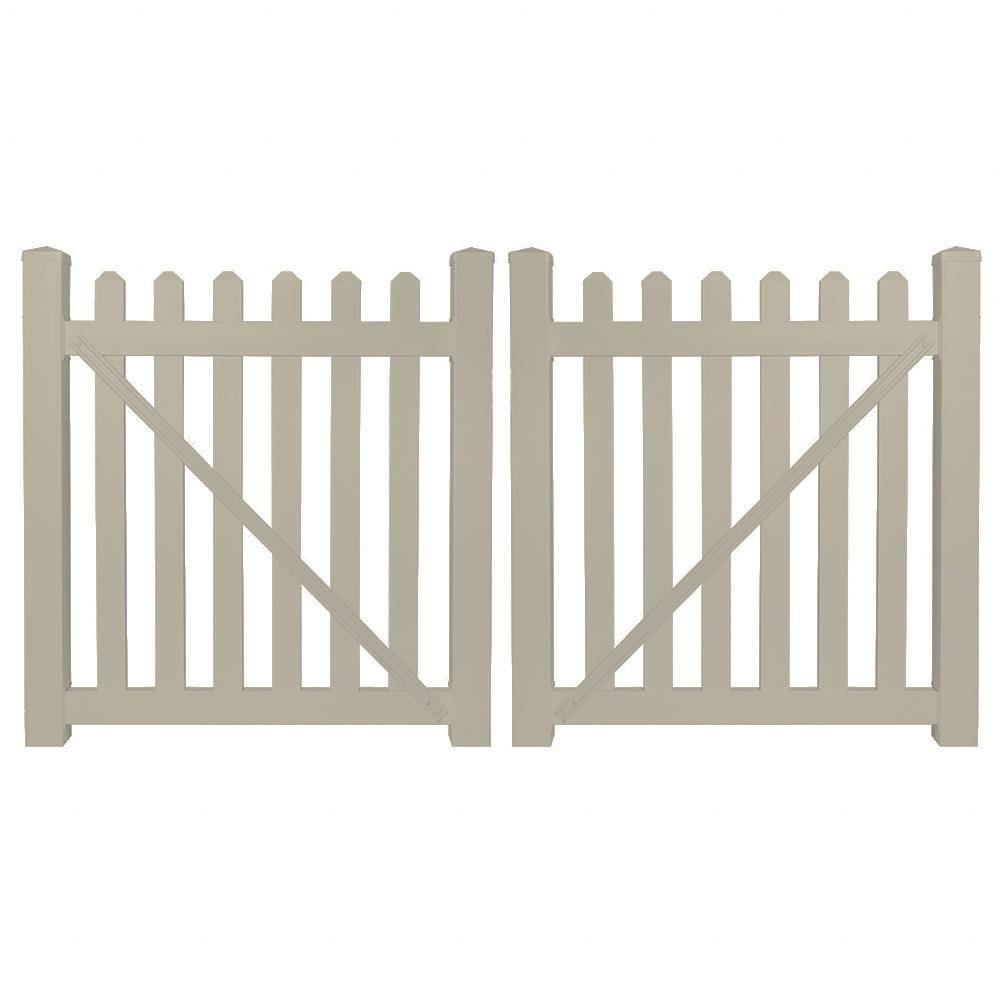Weatherables Chelsea 10 Ft W X 5 Ft H Khaki Vinyl Picket Fence Double Gate Kit Includes Gate Hardware Green In 2020 Vinyl Picket Fence Wooden Garden Gate Double Gate