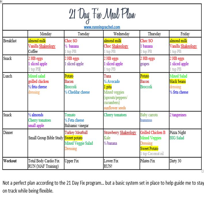 21 Day Fix Meal Plan And Weekly Fitness 21dayfix