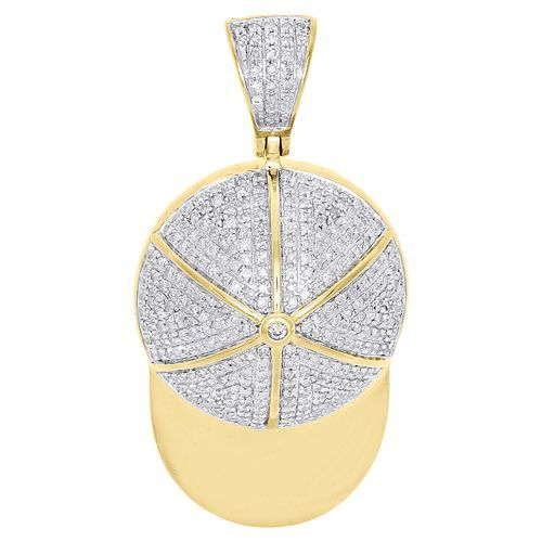 10k Yellow Gold Diamond Baseball Cap Hat Pendant 1 45 Sports Pave Charm 0 68 Ct Pendants Star Pendant