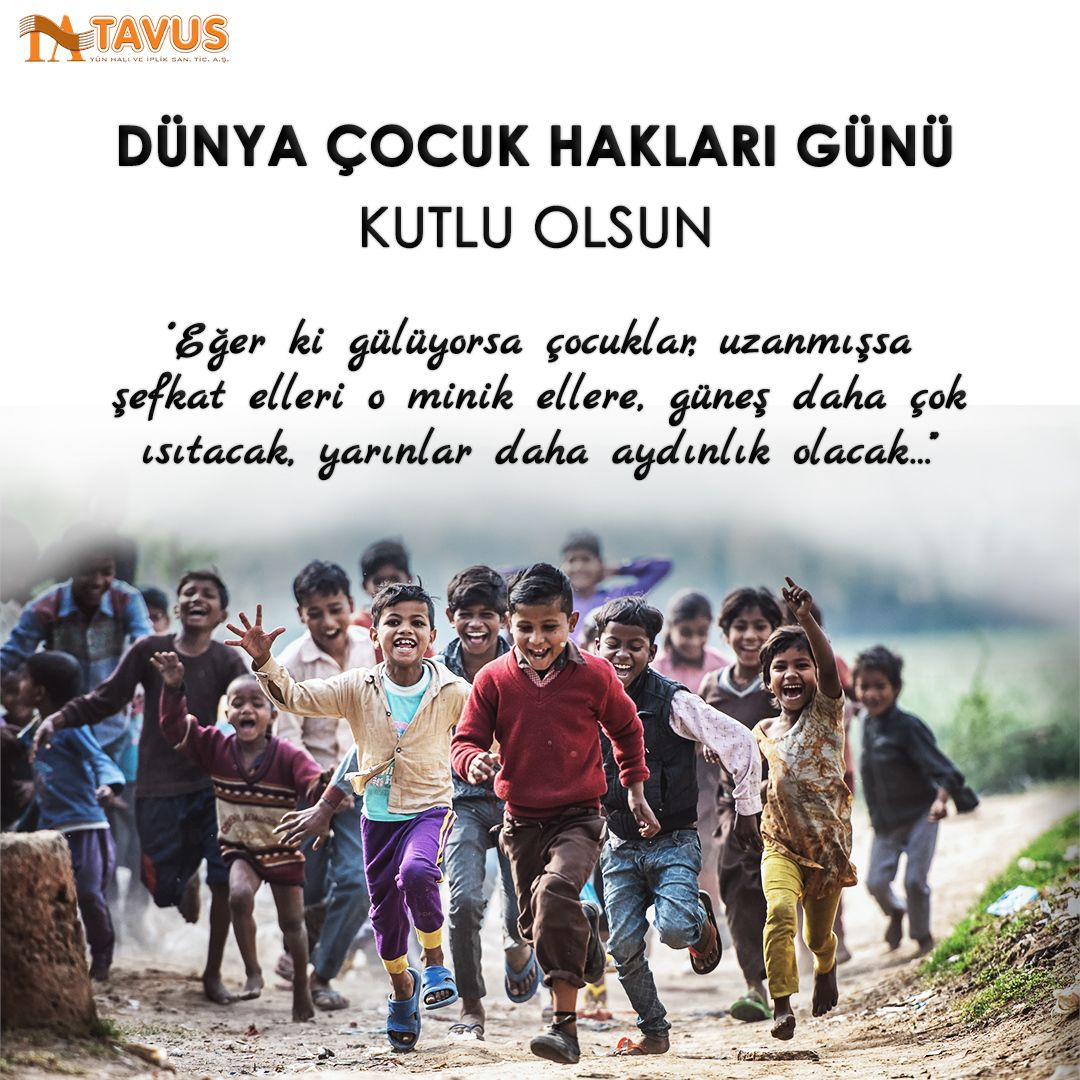 20 Kasım Dünya Çocuk Hakları Günü #20kasımdünyaçocukhaklarıgünü #çocukhakları #çocuk Tavus Halı Cami Halısı, Yurt Halısı %100 Yün ve Akrilik Halı⠀ www.tavus.com.tr Tel+90(216)461 4545⠀ ⠀ #tavushali #camihalısı #cami #halı #hali #halimodelleri #dekoratifhalı #halıdesenleri #yünhalı #bugün #sistemselcom @sistemselcom