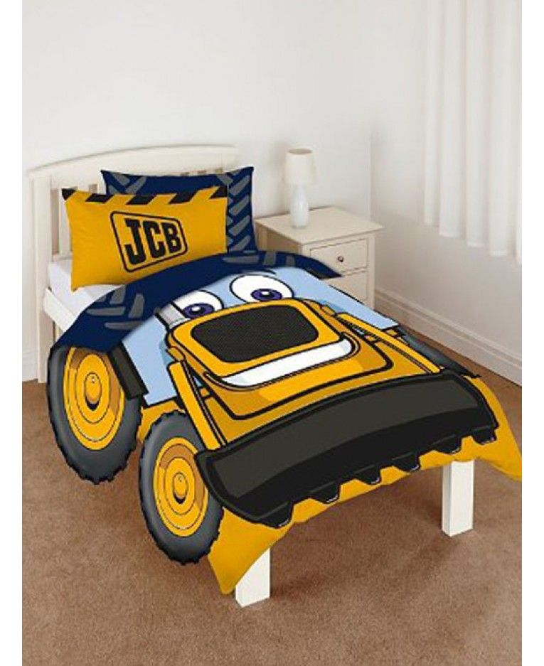 My First Jcb Shaped Single Duvet Cover And Pillowcase Set Has Extra Wheel Sides To
