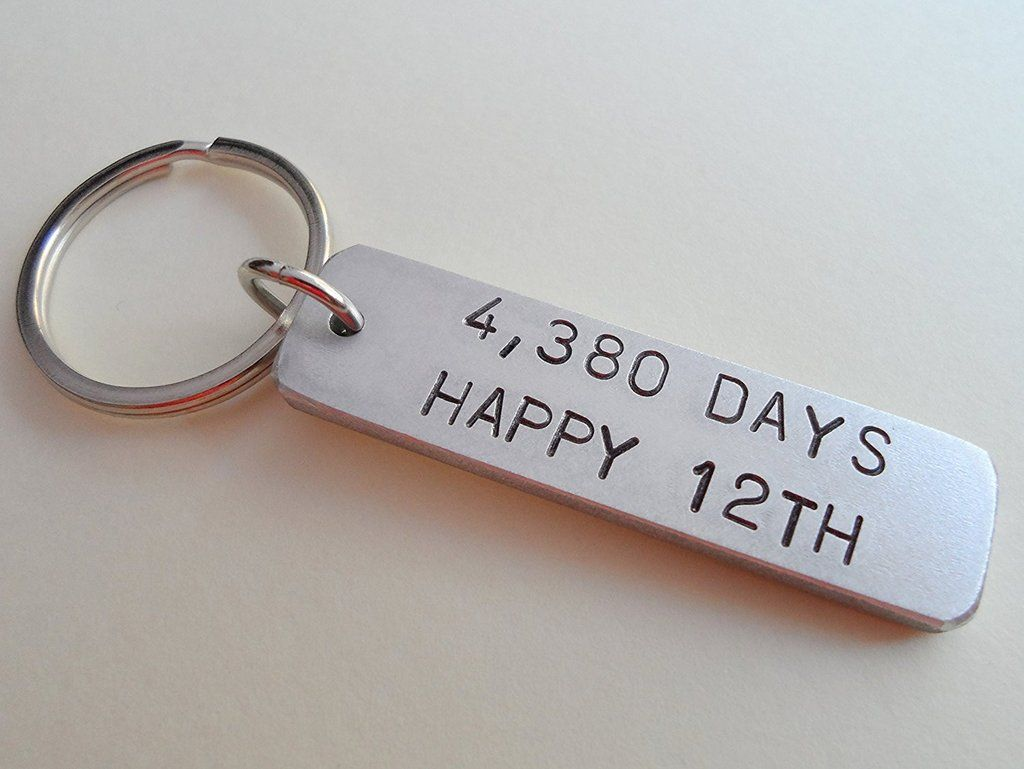 Aluminum Tag Keychain Engraved With 4 383 Days Happy 12th