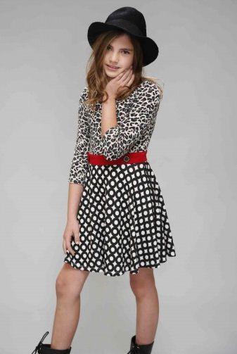 e7da4aea4b91 Truly Me Black Multi Full Skater Skirt Tween Dress w Sleeves 7 8 10 ...