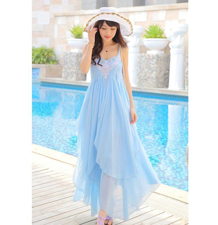 927c0ce0d7 vestidos celeste bordado de Corte asimétrico con tirantes finos ...