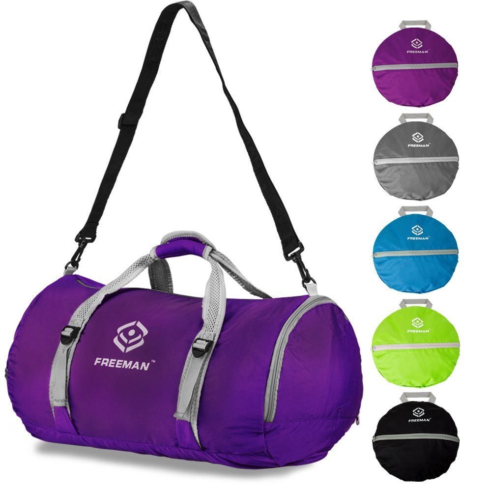 Foldable Sports Duffel Gym Bag for Women Men with Shoe