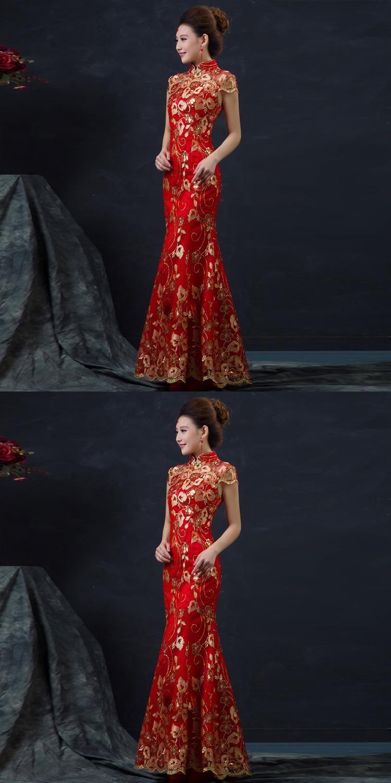 6ee7a06605b Red Chinese Wedding Dress Female Long Short Sleeve Cheongsam Gold Slim Chinese  Traditional Dress Women Qipao