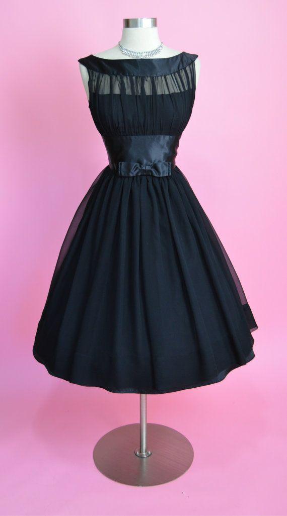 1950\'s Vintage Black Silk Chiffon Bombshell Full Skirt Party Dress ...