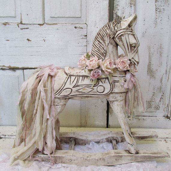 wooden rocking horse painted white distressed shabby cottage chic antique ornate french. Black Bedroom Furniture Sets. Home Design Ideas