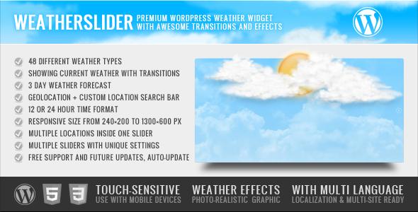 WeatherSlider Premium WordPress Weather Widget | Products I Love