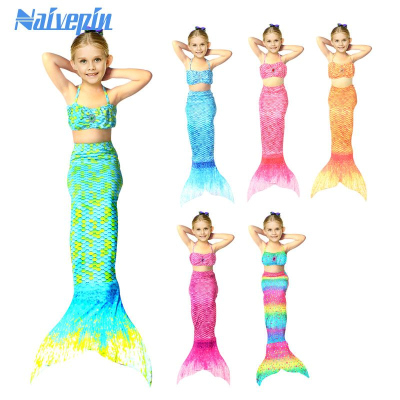 7aa241a3 Girls summer beach Mermaid dresses for children beach swimsuit dress cotton  cartoon ish tail swim wear