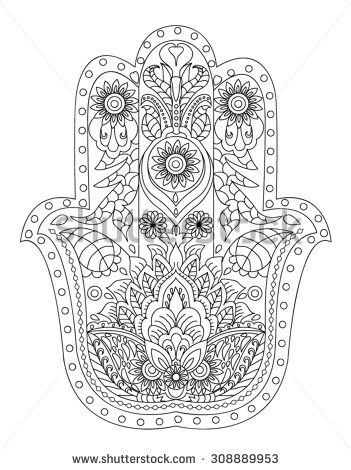 Hand Drawn Henna Abstract Mandala Flowers And Paisley Doodle Coloring Page