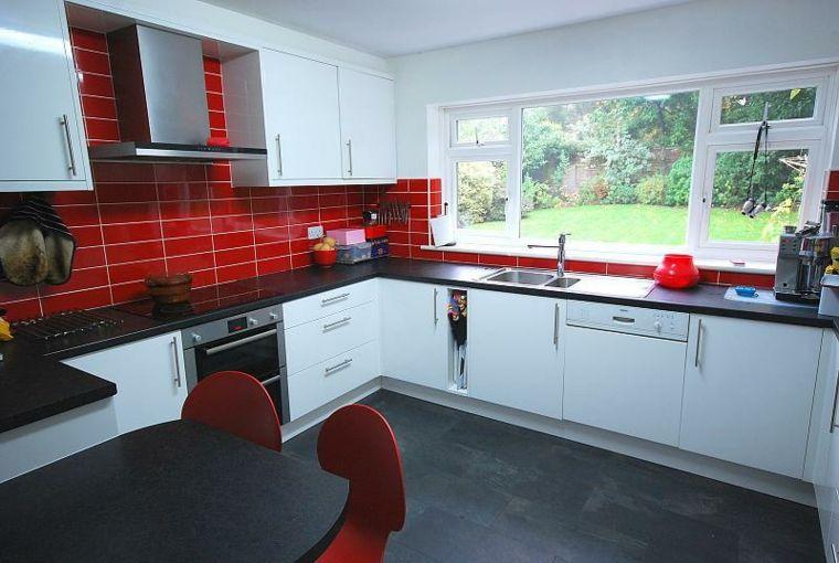 Kitchen Design Red And Black salpicadero cocina azulejos rojos   interiores para cocina   pinterest