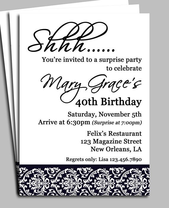 Black damask surprise party invitation printable or printed with black damask surprise party invitation printable bridal shower adult birthday anniversary party any occasion stopboris Choice Image