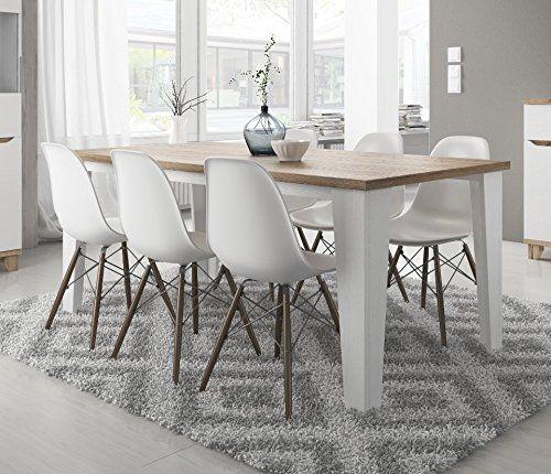 Tavolo da sala da pranzo scandinavo legare in legno 180 cm Bianco ...
