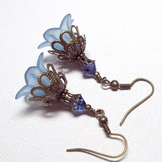Earrings, Blue Sapphire, Swarovski Austrian Sapphire Sparkling Crystal, Antique Brass, Lucite Lily FREE SHIPPING. $7.00, via Etsy.