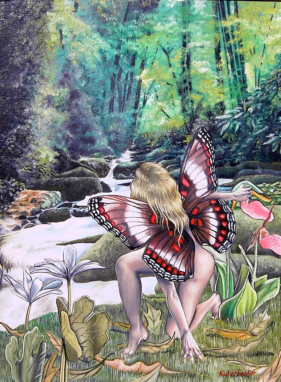 "I did this piece years ago! I looked through a book about fairies and had my own ideas about how they should be illustrated! I would probably do it a bit different today but that is what art is all about: changes! I was learning how to paint scenery and that was perhaps the hardest part but I like the illusion of depth! The piece is entitled ""A Forest Scene"" and measures 11"" x 14"" and is done in oil. $250.00"