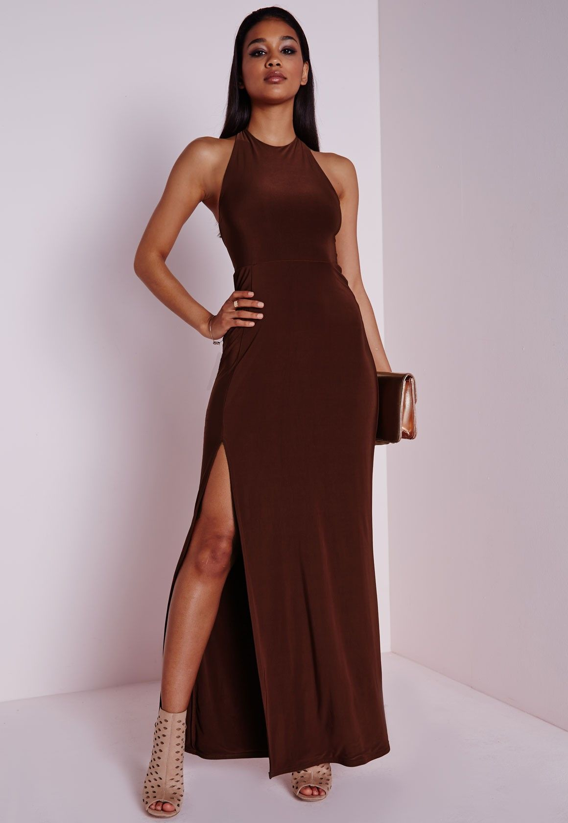 5512d5696322 Missguided - Slinky Side Split Maxi Dress Chocolate Brown