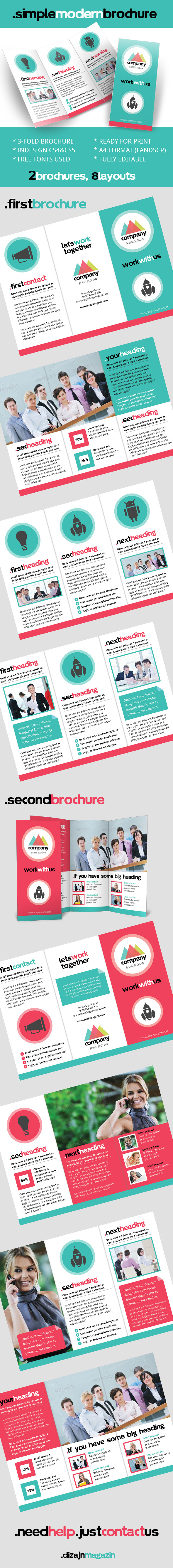 Simple Modern Brochure InDesign Template for Free | Brochures ...