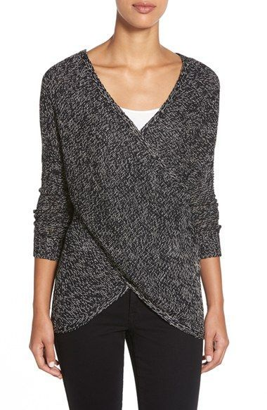 Really like the wrap look, but would want it shorter. RD Style Wrap Front Sweater available at #Nordstrom