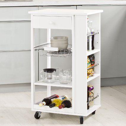 SoBuy® Servierwagen, Küchenwagen, Rollwagen m. Schublade aus Holz ...