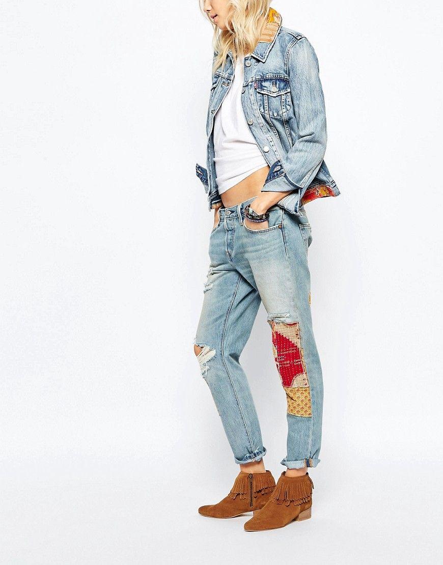 Levi's+501+Ct+Bandana+Patch+Boyfriend+Jeans