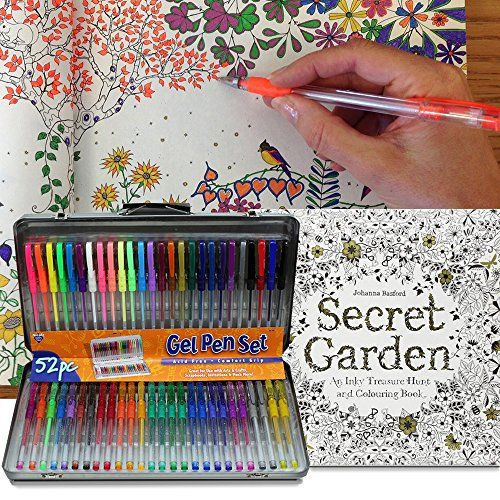 Amazon Com A I Friedman 52 Gel Pen Set W Secret Garden Coloring Book Gel Pens Gel Pens Set Secret Garden Coloring Book