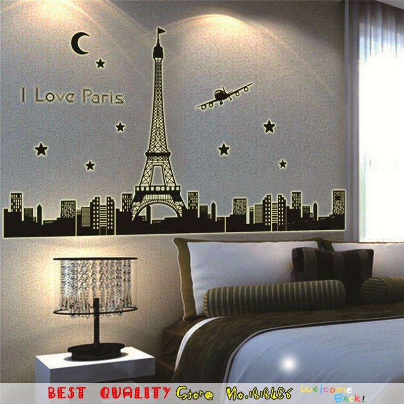 I Love Paris Eiffel Tower Wall Stickers Glow In Dark Night City Wall Decals Bedroom Decoration Scenery Home Decal Supplies ウォールステッカー 壁 ステッカー ステッカー