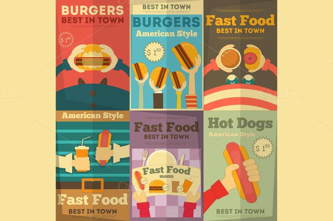 Fast Food Fun Posters Collection in Flat Design Style ...