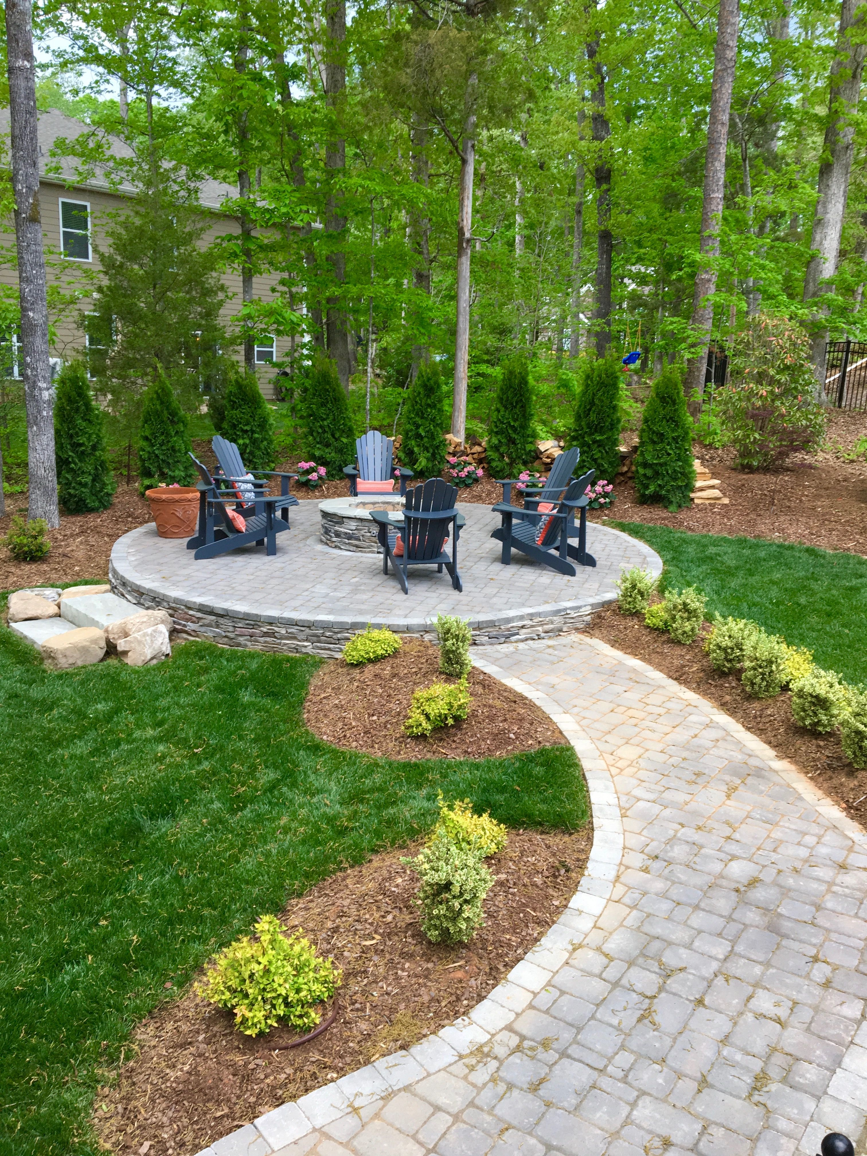 Maybe build fire pit area up so won't flood | Backyard ideas in 2019
