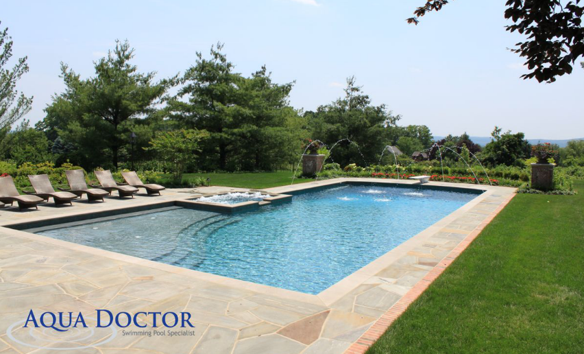 L Shaped Pool With A Fountain At The End Built By Aqua Doctor Pool Patio Designs Pools Backyard Inground Building A Pool