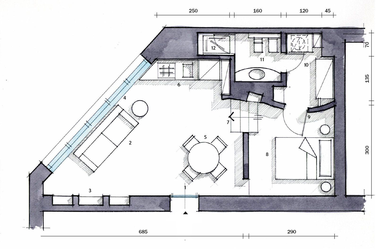 Una casa mini con curve e nicchie risolutive curve for Piccole planimetrie