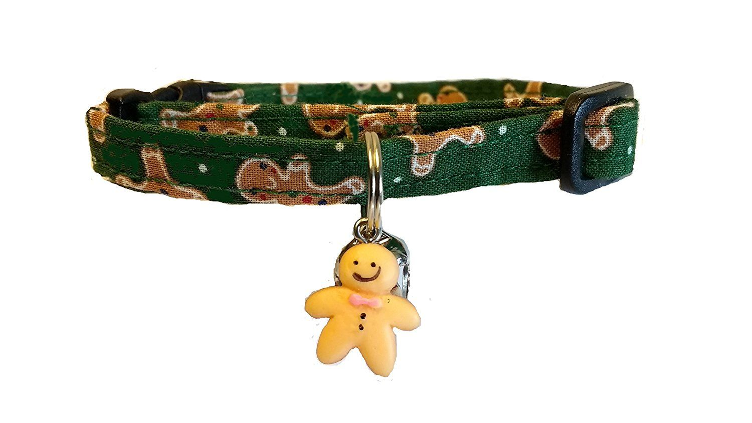 breakaway christmas cat collar with gingerbread man charm click image to review more details