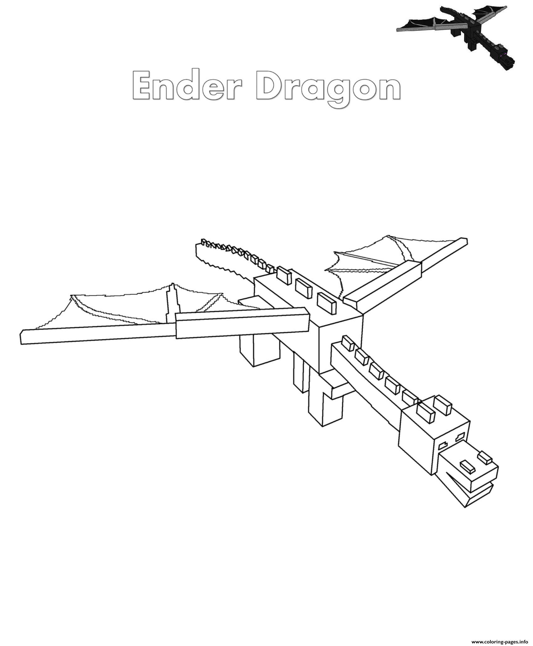 Ender Dragon Dragon Printable Minecraft Ender Dragon Minecraft Coloring Pages Novocom Top