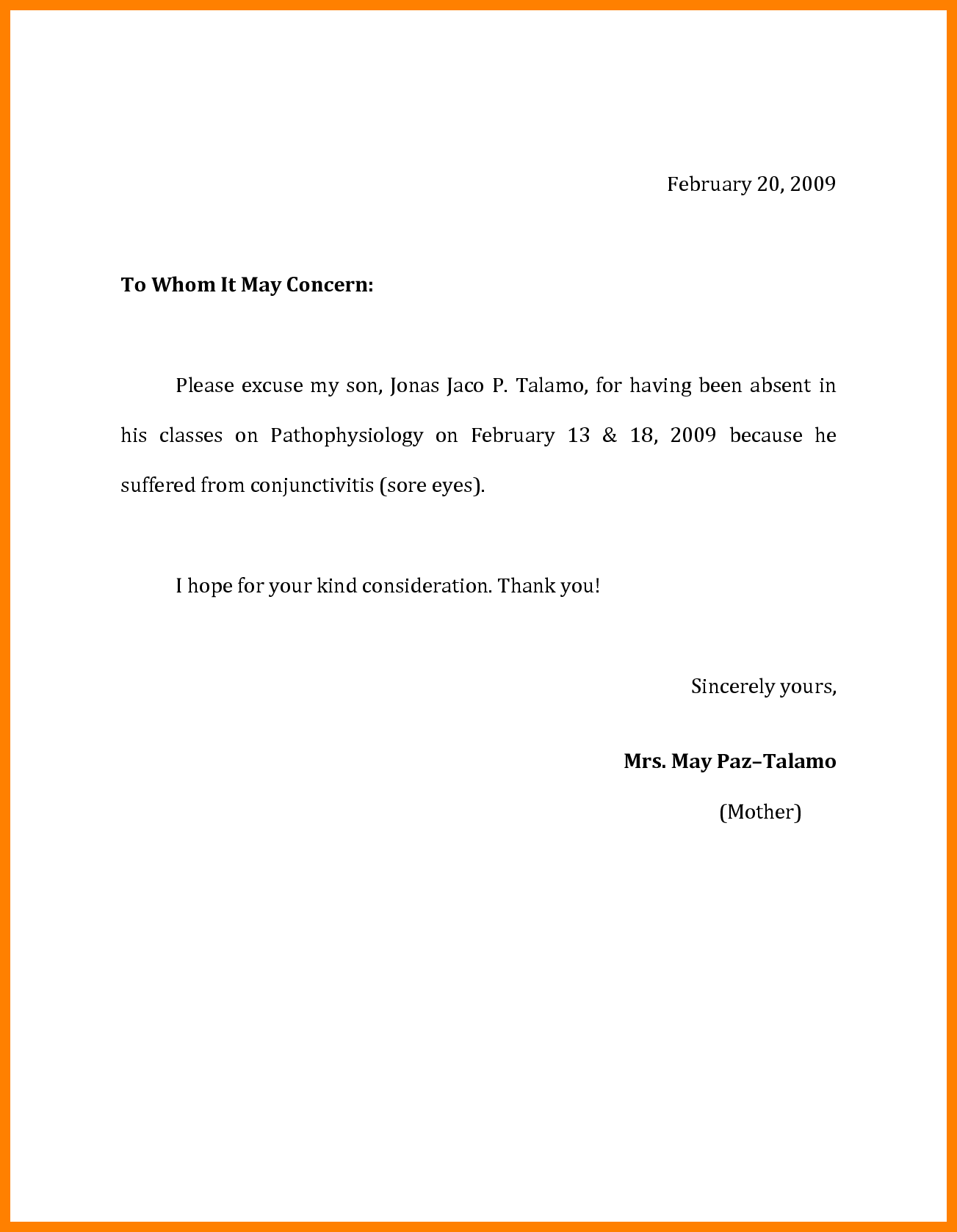 Absent Letter For College from i.pinimg.com