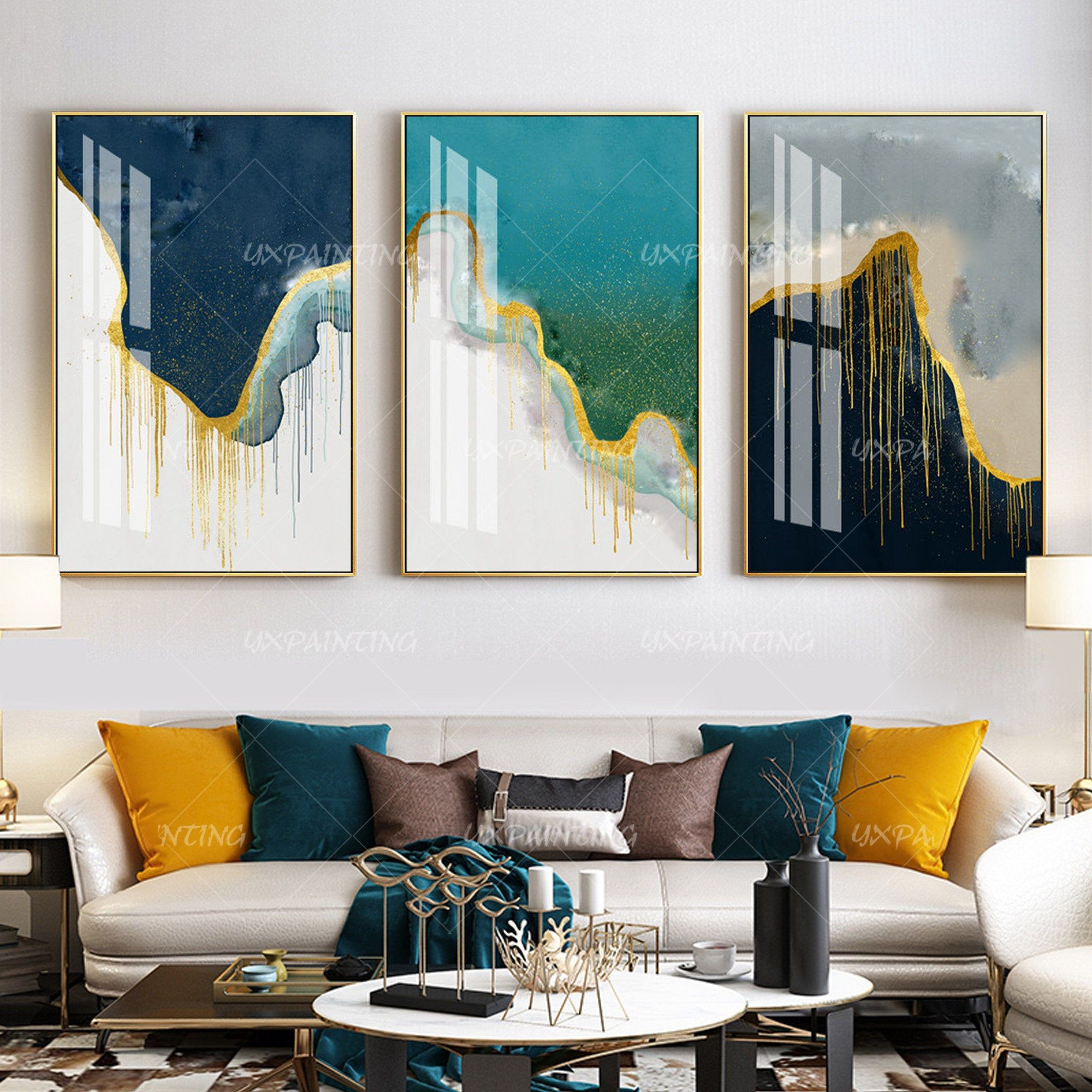 3 Pieces Wall Art Yxpainting Blue Art Abstract Print Gold Art Etsy Blue Abstract Art 3 Piece Wall Art Gold Art Print