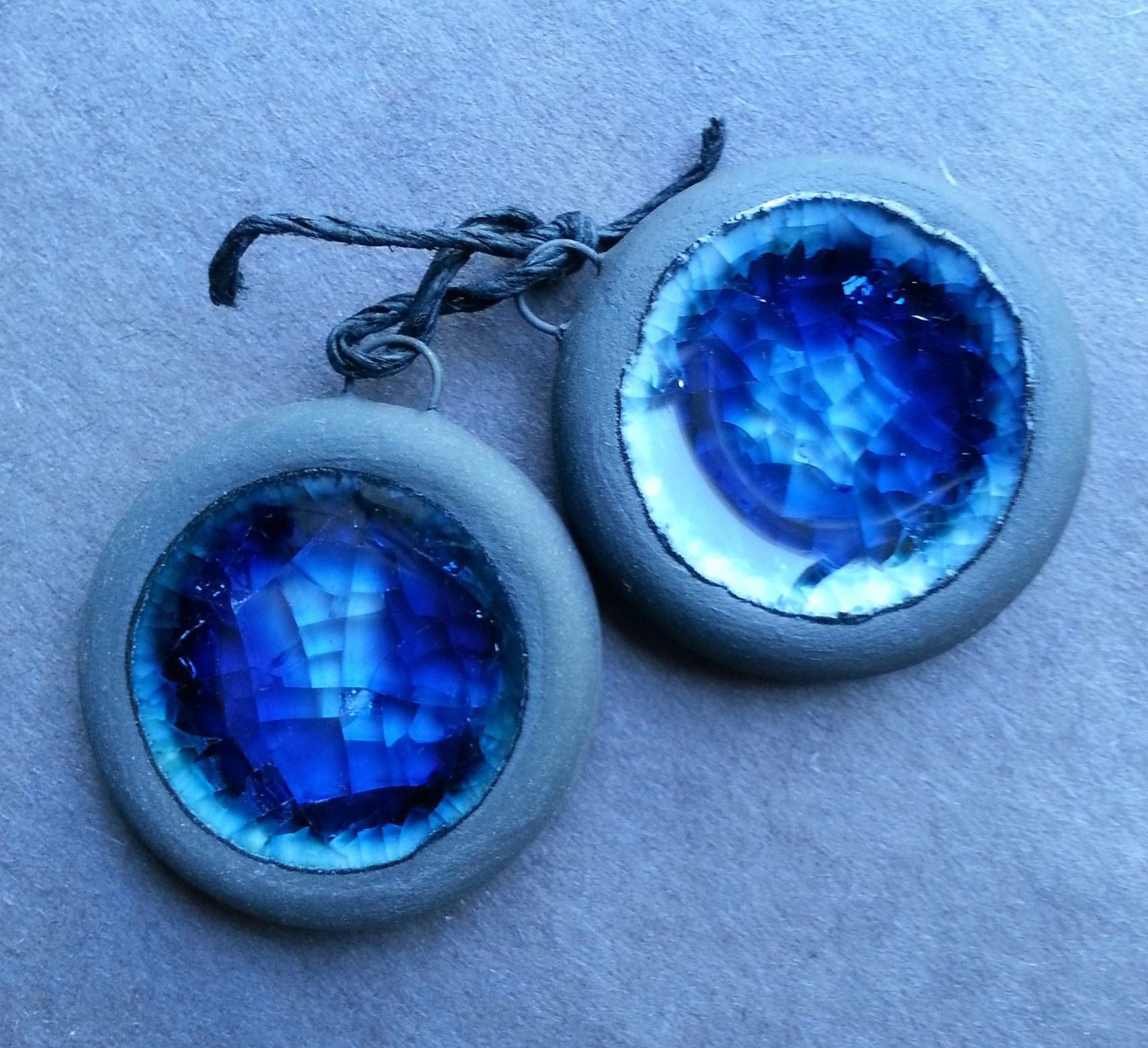 Black and Blue recycled glass pendant or charm set by