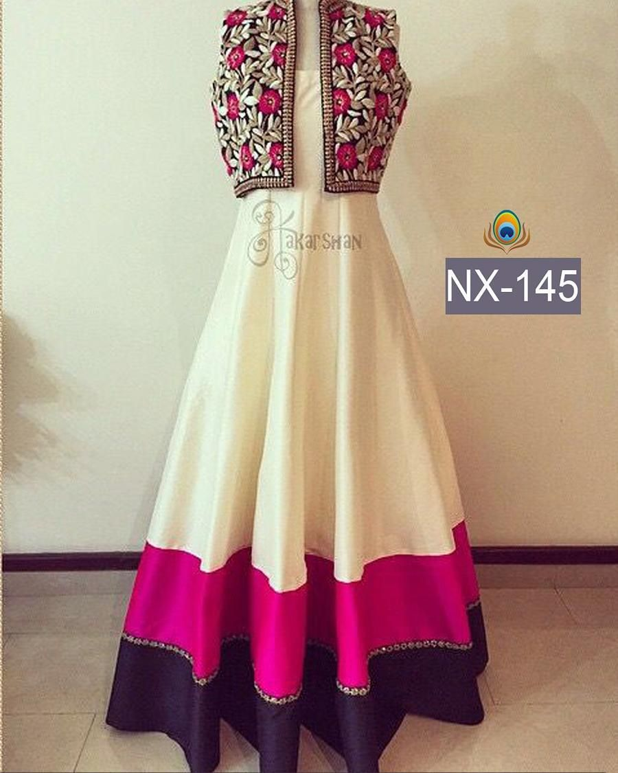 Checkout this white coti gown for festival season Product Detail : Fabric :  Banglori Silk Bottom