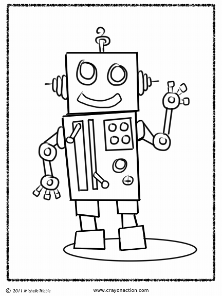 Robot Coloring Page Crayon Action Coloring Pages Coloring Pages For Kids Coloring For Kids Coloring For Kids Free