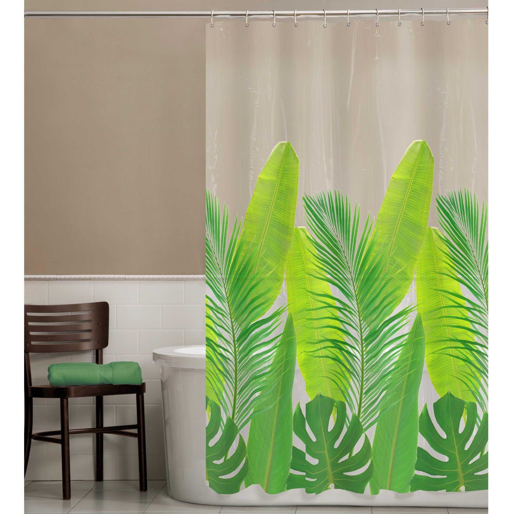 Peva Tropical Leaf Shower Curtain Tropical Leaf Decor Shower Curtain Shower Curtain Track