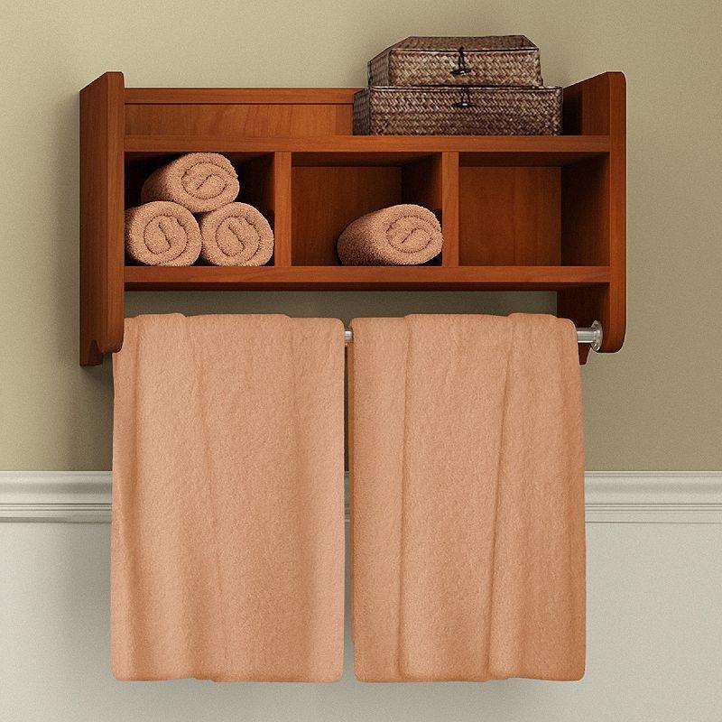 Bolton Bathroom Storage Cubby & Towel Bar Wall Shelf, Brown | Towels ...