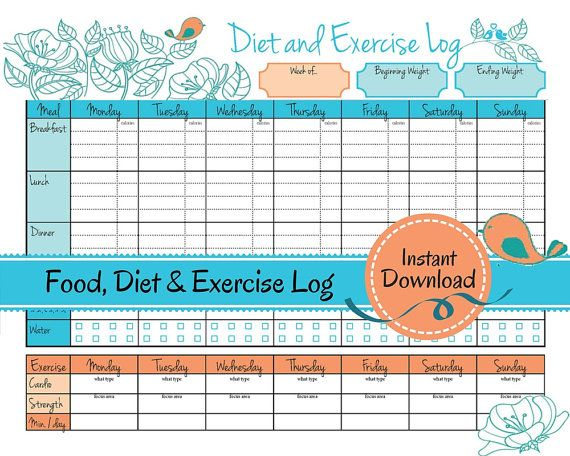 Weight Loss Journal Food Diet Exercise Log, diet log, food tracker