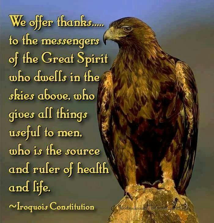 Damos las gracias...a los mensajeros del Gran Espiritu que esta en el cielo, quien nos da todas las cosas utiles al ser humano, quien es el origen y que controla la salud y la vida. IROQUI