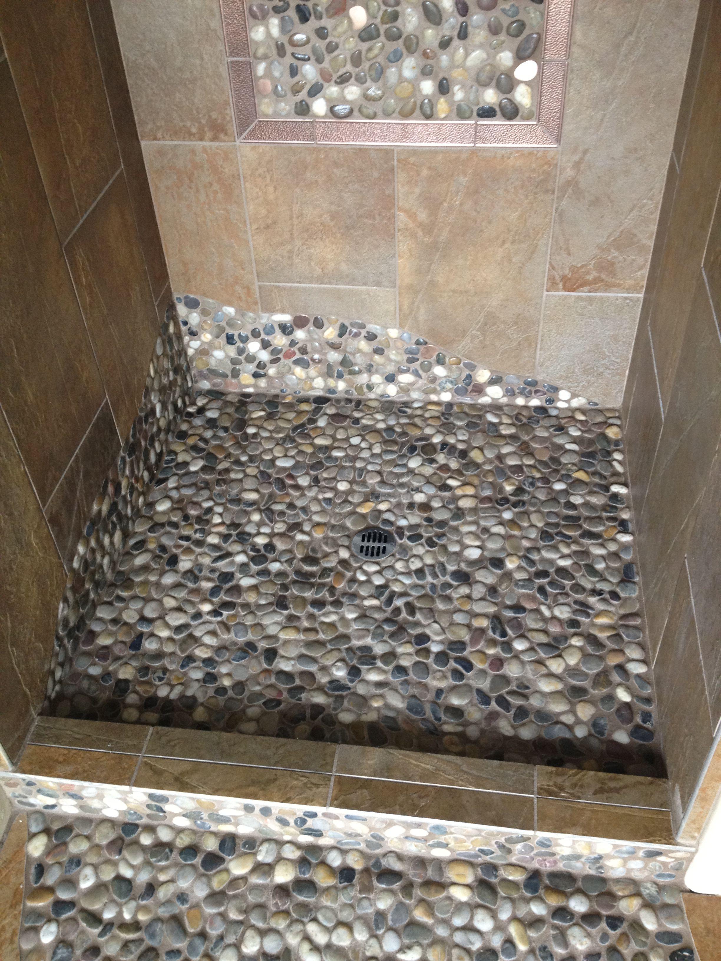 Mud Room Shower. Rock Shower Floor Overflowing Into The Bathroom Floor  Paving The Path.