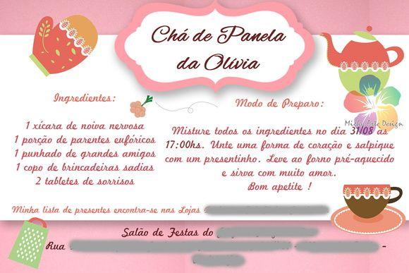 Convite Chá de Panela/Cozinha - Digital