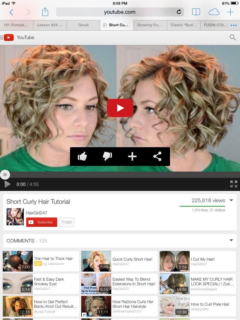 Short Curly Bob Diy Hair Tutorial Short Curly Curly Hair Tutorial
