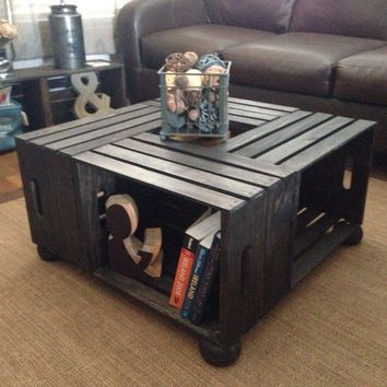 Raised Wood Wine Crate Coffee Table Diy Wine Crate Coffee Table
