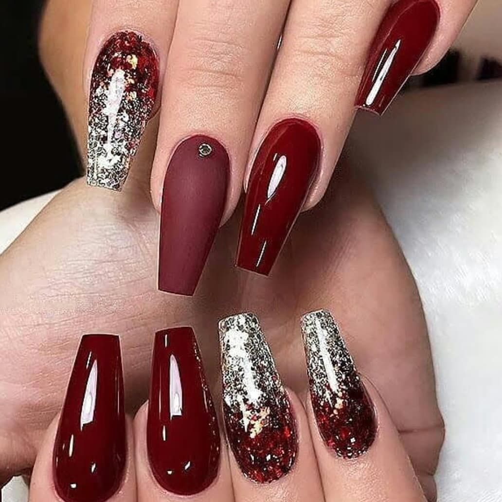 Image May Contain One Or More People And Closeup Ombre Nails Glitter Nail Designs Glitter Burgundy Nails