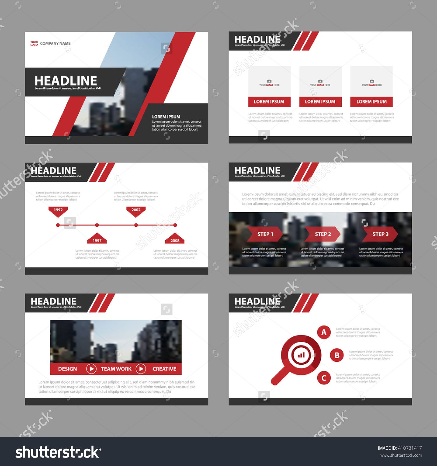 Red Black Presentation Templates Infographic Elements Flat Design